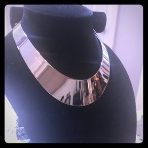 Bold 16 inch silver collar necklace